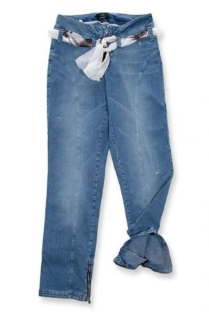 Pantalone 3903 in Denim con foulard in vita