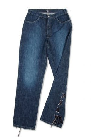 Pantalone 3494 in Denim con zip e spacchi in fondo con lacci