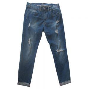 Pantalone 4867 Vita Bassa Gamba stretta in Jeans Elasticizzato con rotture