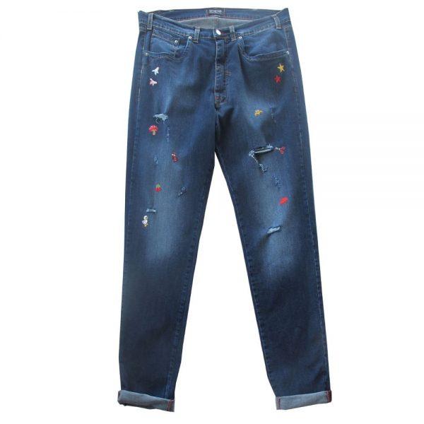Pantalone 4867 Vita Bassa Gamba stretta in Jeans Elasticizzato con rotture ed applicazioni