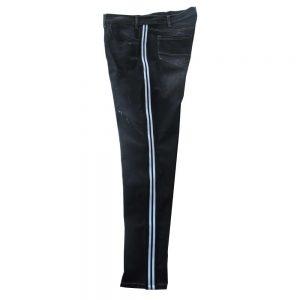 Pantalone 4867 Vita Bassa Gamba stretta in Jeans Nero Elasticizzato con bande laterali